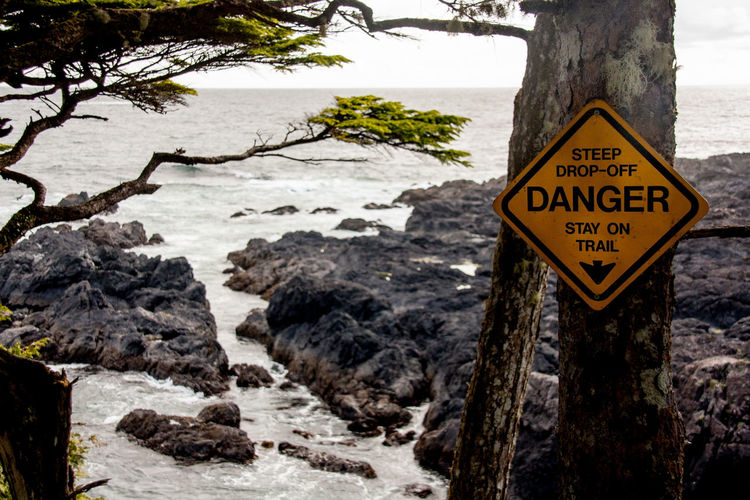 Adventure British Columbia Canada Communication Danger Danger Sign Guidance Information Information Sign Long Beach Ocean Outdoors Pacific Rim Rugged Sign Text Tofino Ucluelet Vancouver Island Warning Sign Western Script Wild Pacific Trail Wilderness Wilderness Adventure Wildernessculture