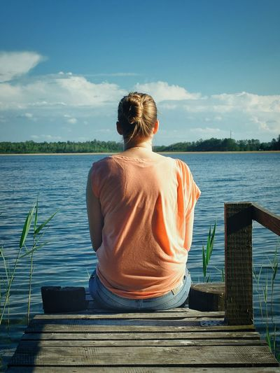 One Person People Rear View Water Lake Outdoors Summer Day Cloud - Sky Sky Young Adult Sitting One Woman Only Nature Girl Women Women Sitting
