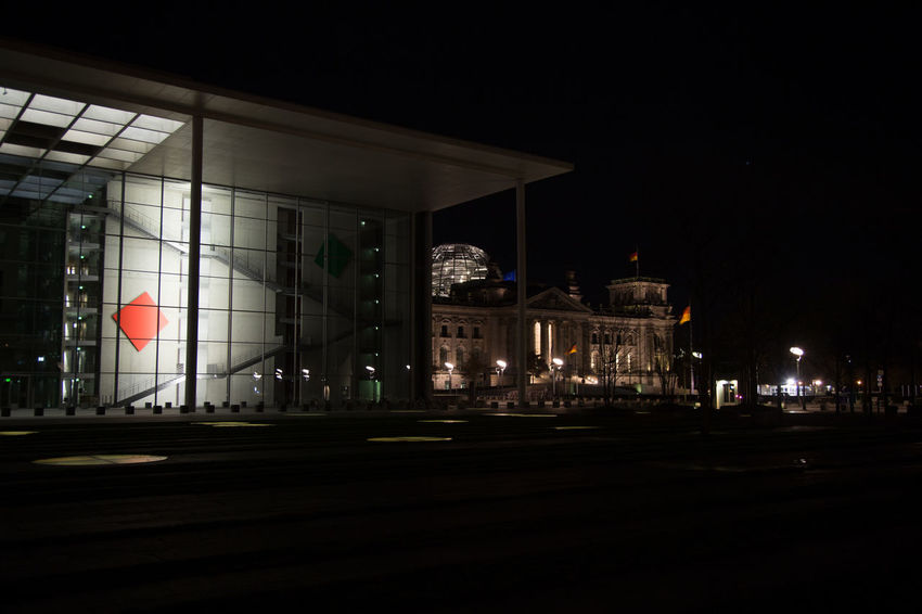 Mix up of new and old architecture in Berlin government district Architecture Bundestag German Parliament And House Of House Of Member Of Parliament Illuminated Marie Elisabeth Lüders Haus Marie-Elisabeth-Lüders-Haus Marie-Elisabeth-Lüders-House Modern And Old Architecture Night No People Outdoors Reichstag