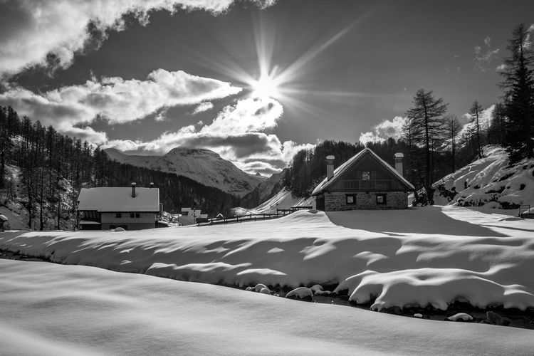 BW. Snow Winter Cold Temperature Architecture Mountain Scenics - Nature Built Structure Sky No People Snowcapped Mountain Beauty In Nature Blue Nature Landscape Land Scenics Day Tranquility Cloud - Sky Clear Sky EyeEm Best Shots EyeEmNewHere EyeEm Nature Lover EyeEm Selects EyeEm Gallery
