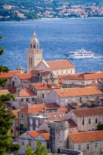 Blue Church Croatia Korčula Red Roof Roof Tile Sea Ship Yacht