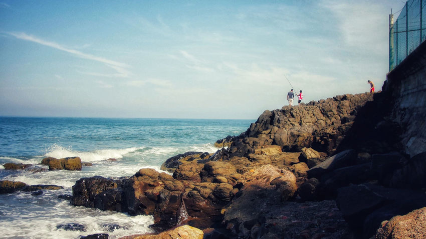 Ocean View Ocean Morning Fishing Sea Rock Water Sky Rock - Object Solid Beauty In Nature Scenics - Nature Horizon Over Water Beach Cloud - Sky Land Rock Formation Group Of People Nature People Outdoors