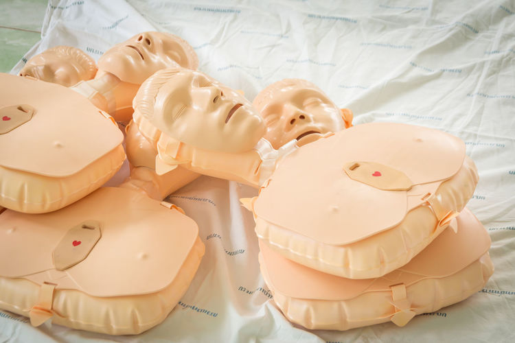 Close-up of cpr dummies