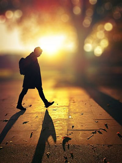 To walk in the light One Person Street Real People City Sunlight Lifestyles Side View Silhouette Shadow Walking Full Length