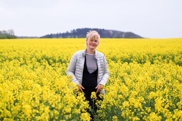 Woman standing on field in netherlands