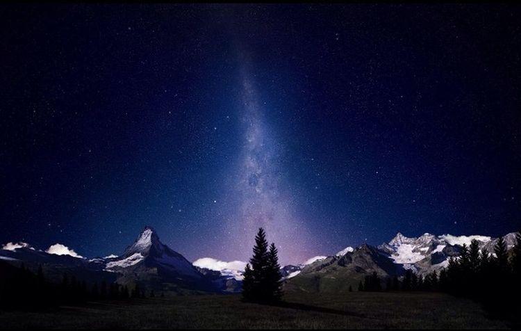 Magnifique Hiver Nuit Etoiles Panorama Nature Nuit Bleue Montagnes