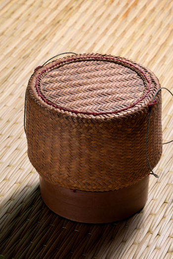 Bamboo container for holding cooked glutinous rice Bamboo Basket Container Culture Food Holding Rice Souvenir Sticky Rice Thai Traditional Wicker Wood