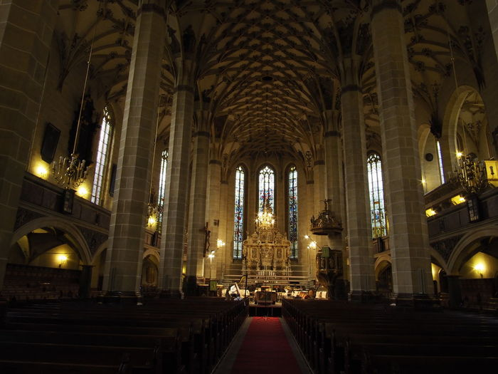 Gothic Gothic Architecture Town Church St. Mary Pirna Altar Arch Architectural Column Architecture Belief Building Building Exterior Built Structure Ceiling Gothic Beauty  Gothic Style History Illuminated No People Pew Place Of Worship Religion Spirituality The Past