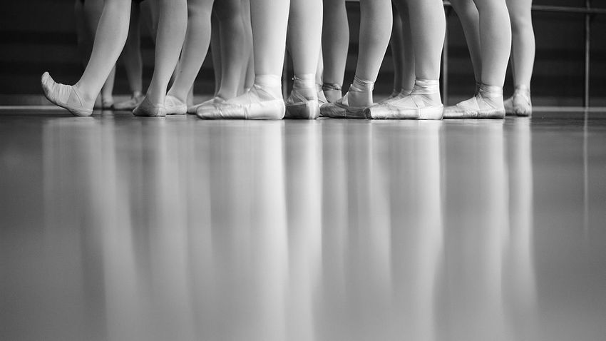 Reflection Ballet Ballet Dancer Ballet Shoes Ballet Studio Close-up Day Human Body Part Human Leg In A Row Indoors  Low Section Multiple Image People Practicing Real People Symmetry Togetherness Women