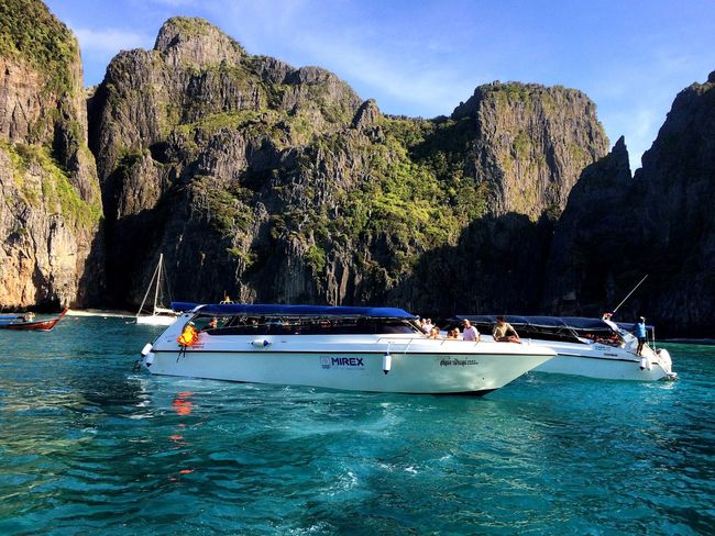 Maya Bay🌴⛵️ Nautical Vessel Transportation Mode Of Transport Nature Water Beauty In Nature Vacations Scenics Tourism Travel Outdoors Tranquility Sky Day Travel Destinations Mountain Sea Adventure Real People Longtail Boat Speed Boat Beach Maya Bay Phuket Island