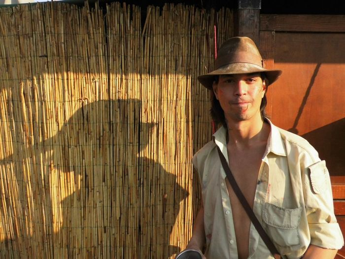 Light And Shadow Indiana Jones Portrait Men Young Men Fashion Front View Standing Hat Casual Clothing