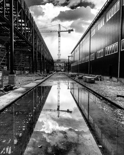 Mardin Mazıdağı Reflection Reflection_collection Blackandwhite Black Black And White Black & White Blackandwhite Photography Firts Eyeem Photo Mardingezi Built Structure Sky Water Day Architecture Transportation Bridge - Man Made Structure Connection Outdoors Waterfront Nature No People Factory Factory Building