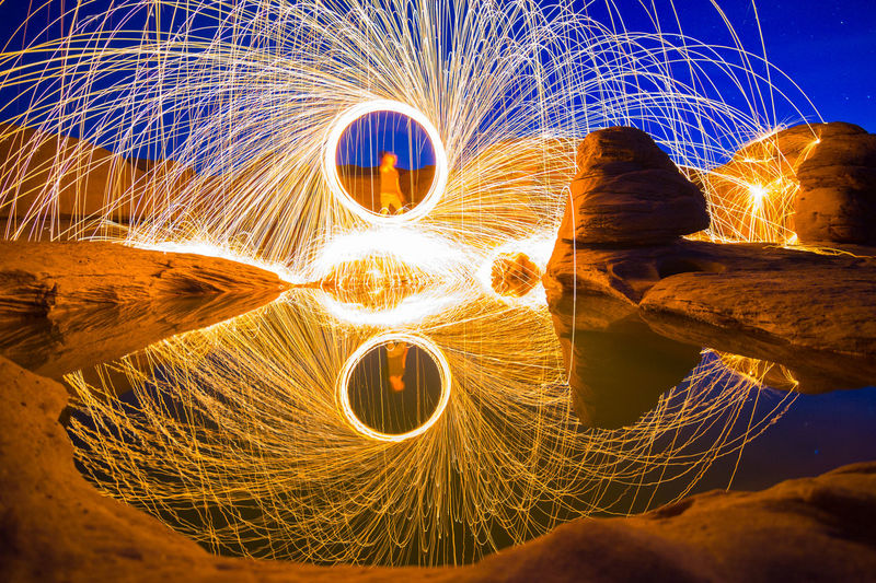 Men With Wire Wool Standing By Lake At Night