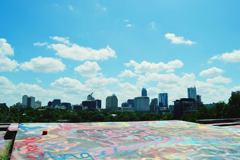 On top of the world... at Castle Hills in Austin Texas Building Exterior Architecture City Built Structure Sky Skyscraper Urban Skyline Tall - High Travel Destinations Office Building Cloud Tower Cityscape Cloud - Sky Building Story Outdoors Skyline Day Modern Tall Graffiti Graffiti Park Austin My Favorite Place