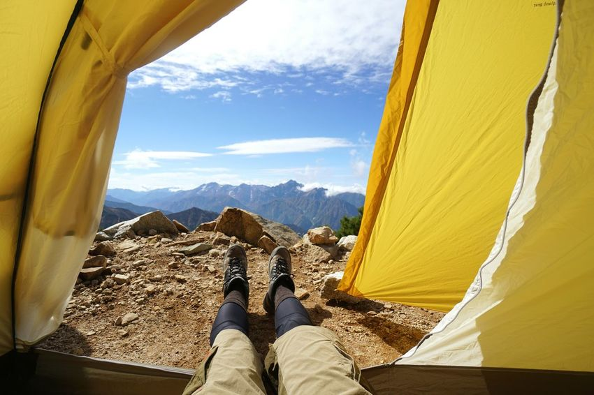 Human Leg Mountain One Person Adventure Day Landscape Mountain Range Tent Nature Yellow Sky Mt.Karamatsudake