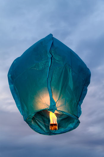 Low Angle View Of Paper Lantern Against Sky
