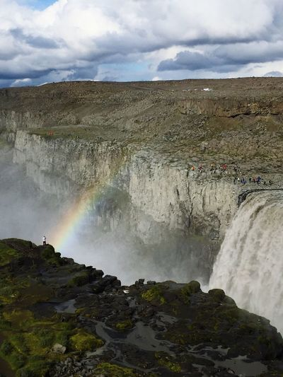 Waterfall Iceland Iceland_collection Man Sky Scenic Water Nature Beauty In Nature Rainbow Cloudy People And Places