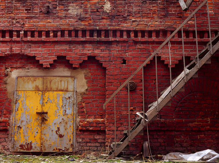 Architecture Brick Brick Wall Bricks Door Doors Emergency Stairs Fabric Factory Lodz Manufactura Stairs Łódź