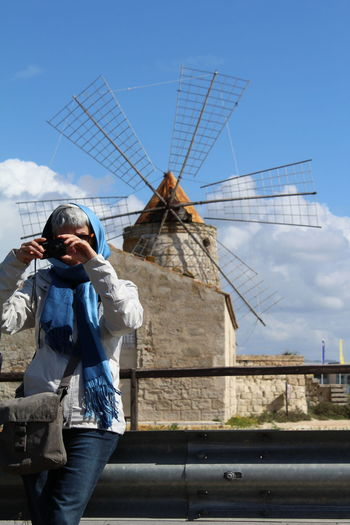 Learn & Shoot: Balancing Elements Trapani Sicily Travel School Trip Wind Last Year Prof Cold Days Salt Saline Nature Windmill Scarf Blue Sky The Portraitist - 2016 EyeEm Awards The Street Photographer - 2016 EyeEm Awards