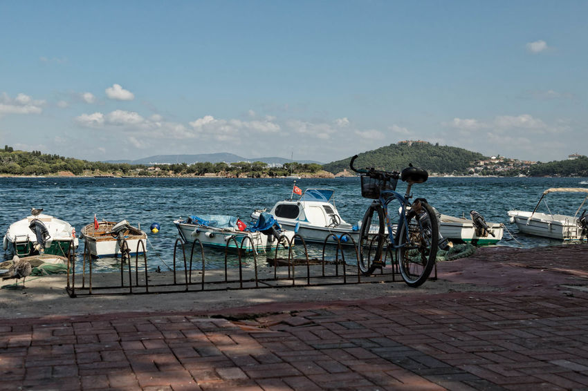 Marmara Sea Absence Bicycles Bike, Cycle, Two-wheeler, Mountain Bike, Ten-speed, Racing Bike Blue Cloud Cloud - Sky Day Empty Mode Of Transport Nature No People Outdoors Parked Parking Scenics Sky Stationary Tranquil Scene Tranquility Turkey, Burgazada, Marmara Sea, Istanbul, Sea, Island, Princes's Island Water