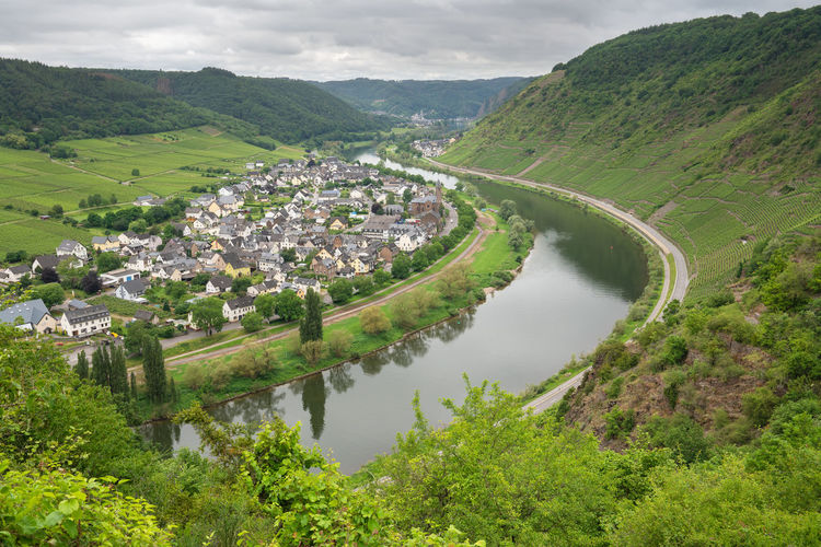 Panoramic image of the moselle village ernst close to cochem on a dully day, germany