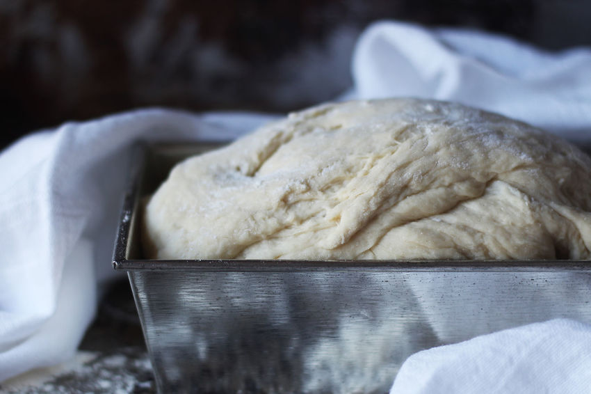 Baking bread Bread Homemade Dough Rising Raw Flour Kitchen Towel Loaf Pan Tin Loaf Of Bread Food And Drink Freshness Indoors  Preparation  Close-up No People Selective Focus Raw Food Bakery Kitchen Day Preparing Food Studio Shot Baking Bread