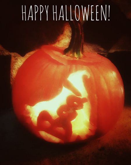 "This is one of our carved pumpkins. It is of a ghost with the word ""BOO!"". Happy Halloween 2016! KimberlyJTilley"