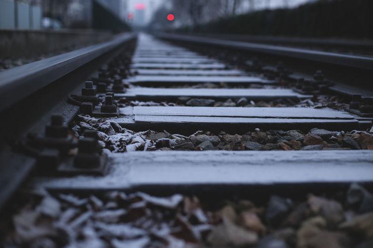 Surface level of railroad tracks