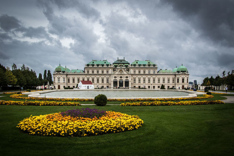 Belvedere Palace, Vienna Austria Vienna Architecture Belvedere Building Exterior Built Structure Cloud - Sky Day Flower Flower Head Flowerbed Freshness History No People Outdoors Park - Man Made Space Plant Sky Travel Destinations Water Wien Yellow Östereich