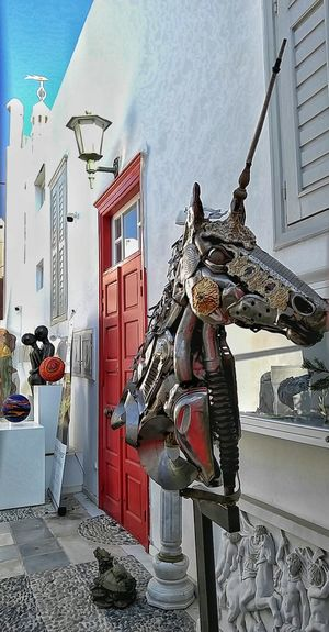 Greek Unicorn Mykonos Villa Unicorn Art Unicorn Sculture Summer Memories 🌄 Greece Memories Recycled Art Recycled Sculpture If Looks Could Kill