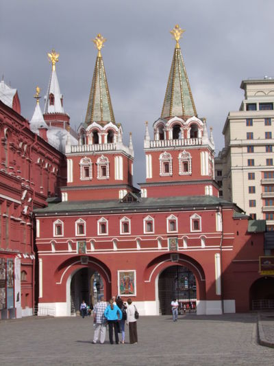 Iversky Gate (Ressurection Gate), Red Square Arches Architecture Building Exterior Built Structure Capital Cities  City Composition Dark Sky Entrance Gate Façade Full Frame Gateway History Incidental People Moscow Outdoor Photography Red Square Russia Sunlight And Shadow Tourism Tourist Attraction  Tourist Destination Traditional Architecture Travel Destinations Two Towers