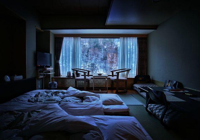 Classic tatami Japanese room - small but cozy with heated floors. Japan Hokkaido Hokkaido Japan Toya Window Indoors  Bedroom Bed Winter Spring Snow Nature Tatami Tatamiroom Blue Lowlight