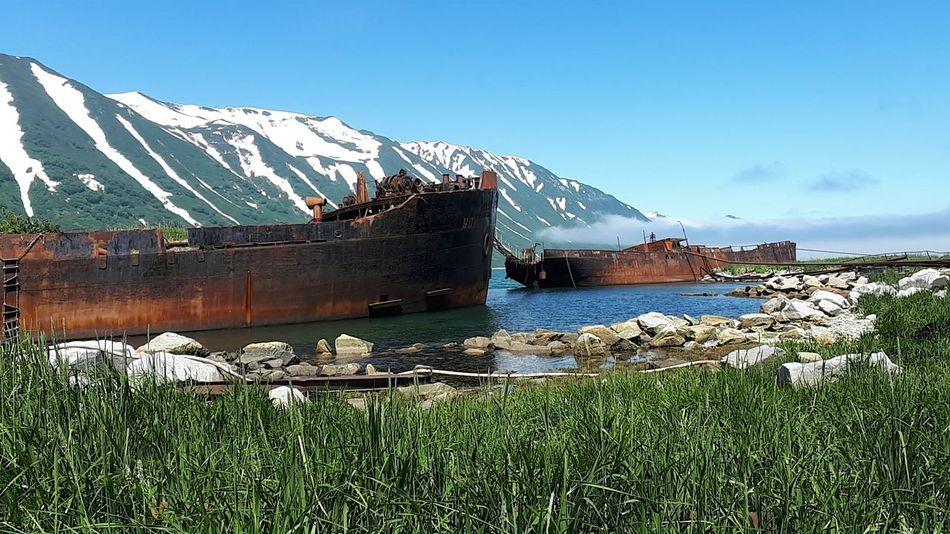 Russian Bay Shipwreck Bay EyeEmNewHere Water Snow Mountain Sea Cold Temperature Mountain Range