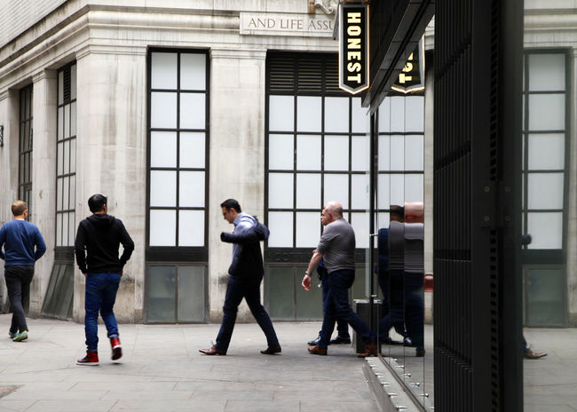 City of London, the oldest parts of London and it's financial centre. Adult Adults Only Architecture Built Structure Businessman Colleague Corporate Business Coworker Day Full Length Indoors  Mature Adult Mature Men Men People Pub Teamwork Walking Around Young Adult