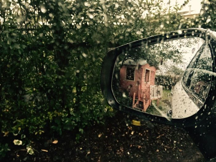 House Dollhouse Reflection Plant Tree Nature Water Wet Day Glass - Material Rain Mirror Transportation