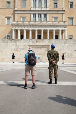 Athens Changing Of The Guard City Greek Parliament Guard Instructor Men Military Real People Street Photography Streetphotography Tourist