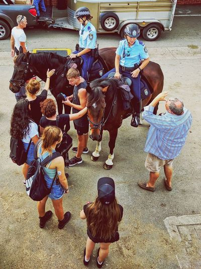 Horse Police Easter Childhood Men Togetherness Women Multi Colored Child Boys Working Animal