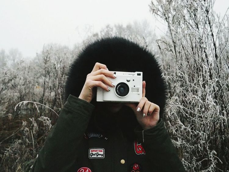 Photography Themes Camera - Photographic Equipment One Person Winter Human Hand Photographer People Human Body Part Day Woman Portrait Woman Polaroid EyeEmNewHere Uniqueness