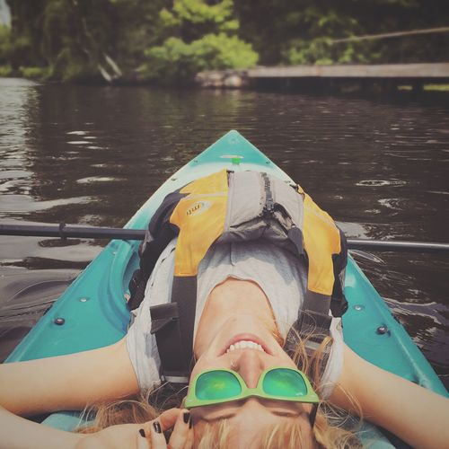 Kayaking Open Edit On The Water Outdoors Adventure Girl Smile Sunglasses