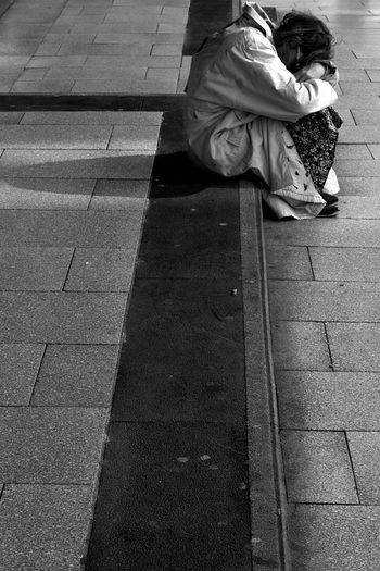 Adult Black And White Blackandwhite Canon Day Depression - Sadness Full Length Loneliness One Person Outdoors People Real People Sitting Capture The Moment