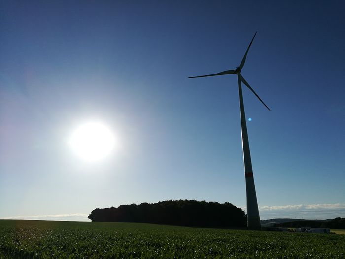 Windkraft Wind Turbine Wind Power Clear Sky Alternative Energy Rural Scene Technology Fuel And Power Generation Electricity  Windmill Renewable Energy Shining Tranquility Countryside Non-urban Scene