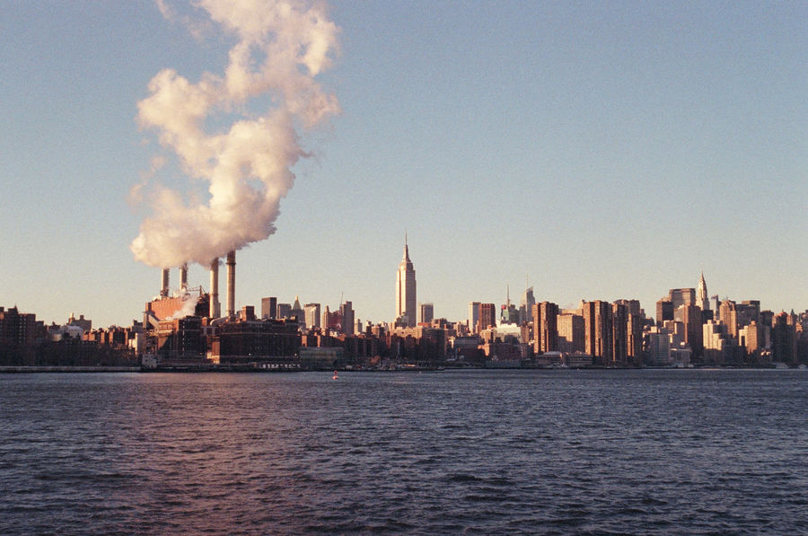 Architecture Building Exterior Built Structure Capital Cities  City City Life Cityscape Film Photography Financial District  Fog Manhattan Modern New York City River Skyline Skyscraper Smoke Tall - High Tower Urban Skyline Water Water Reflections Waterfront Winter