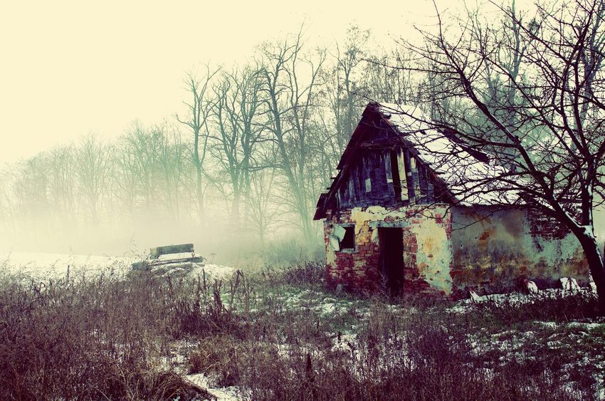 Architecture Built Structure Abandoned Old Fog Foggy Damaged Water Weathered Outdoors Nature Bad Condition