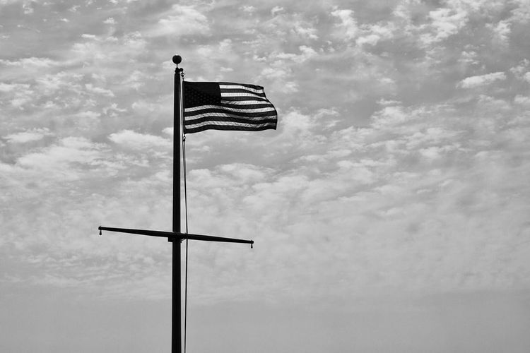 Black And White Friday Flag Low Angle View Striped Patriotism Cloud - Sky Flag Pole Sky No People Day Outdoors Stars And Stripes