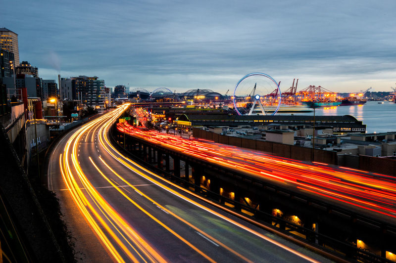 Downtown Seattle, Washington Seattle United States Landscape City Cityscape Downtown Long Exposure Night Photography Motion Sky Street Light Trail Speed Road Dusk Outdoors