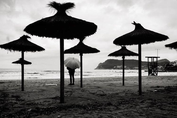Parasols on beach against sky