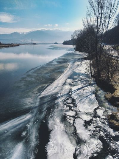 Mountains Melting Ice Spring Has Arrived Melting Snow Cracked Ice River Riverbank Sea Beach Tree Nature Tranquility No People Beauty In Nature Outdoors Horizon Over Water