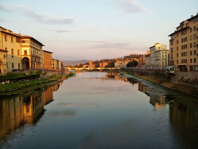 Water City Reflection Cityscape Architecture Outdoors Day Gold Bridge Florence Italy Architecture Vintage No People