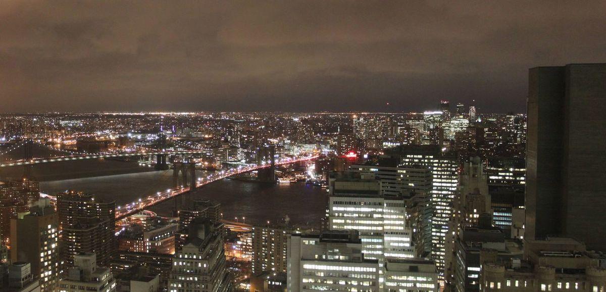 Brooklyn Bridge / New York Manhattan New York City New York Night Panoramic Landscape Panoramic View Panorma United States