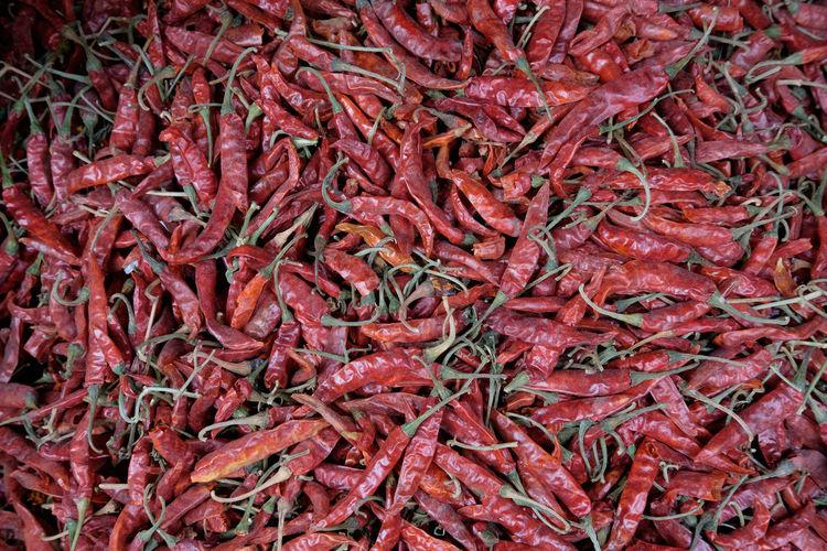Full Frame Shot Of Red Chili Pepper For Sale At Market Stall